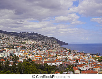 Funchal - Portugal, Madeira, Elevated view of Funchal.