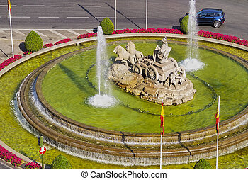 Plaza Cibeles in Madrid - Spain, Madrid, Elevated view of...