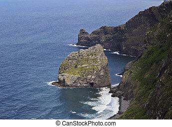 Coast of Madeira - Portugal, Madeira, Santana, Elevated view...