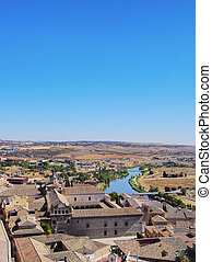 Toledo - Spain, Castile La Mancha, Toledo, Elevated view of...