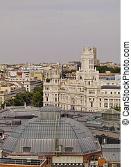 Madrid Skyline - Spain, Madrid, View of the Cybele Palace.