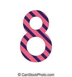 number eight design with diagonal colorful striped vector...