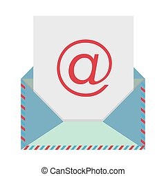 colorful envelope with mailing sheet and at sign vector...