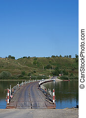 Old Rjazan, Russia - summer, 2016: pontoon bridge over Oka...