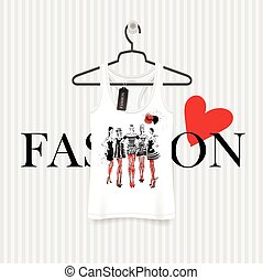 Print for T-shirt. Model Girls hand drawing - fashion...