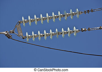 Insulators power lines. Photo of power lines against the...