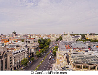 Madrid Skyline - Spain, Madrid, Elevated view of the Alcala...