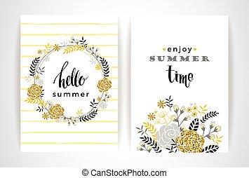 Summer floral card template. Vector illustration. Design...