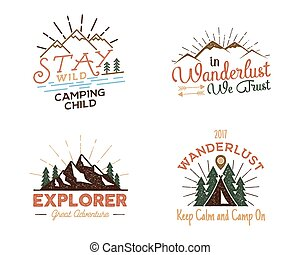 Set of outdoors activity badges. Retro illustration of...