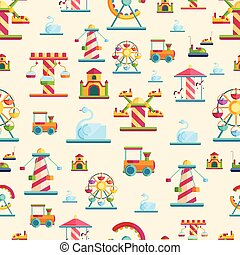 Attraction seamless pattern vector cute style illustration