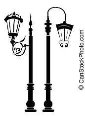 Street lights and outdoor lamps. Vector template for...