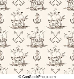 Sailship and Anchor Seamless pattern - Seamless nautical...