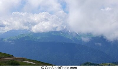 Mountains in the clouds. View from the Ridge Aibga, Sochi,...