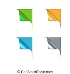 Paper different color corners and blank space for your text, vector illustration