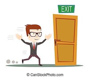 Businessman running to opened door - Exit. Businessman...