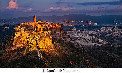 Civita di Bagnoregio, Viterbo, Lazio, Italy: landscape at...