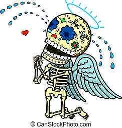 Vector illustration of skeletons - Love angel crying on his...