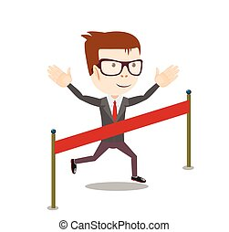 young business man crossing the finish line