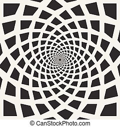 Vector Black and White Spiral Rectangles Swirl Abstract Optical Illusion