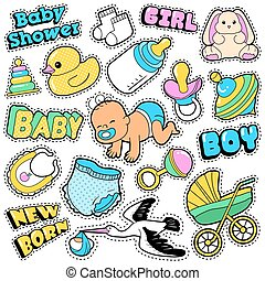 New Born Baby Stickers, Patches, Badges Scrapbook Baby Shower Decoration Set with Stork and Toys