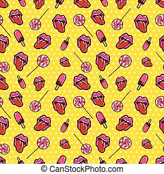 Lips, Candies and Ice Cream Seamless Pattern. Background in Retro Fashion Style