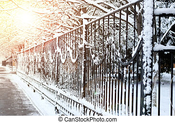 sidewalk along the fence - various objects of the winter...