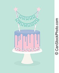 Birthday cake with frosting and decoration. Happy birthday...