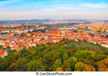 Aerial view of Prague cityscape with castle, Lesser Town and...