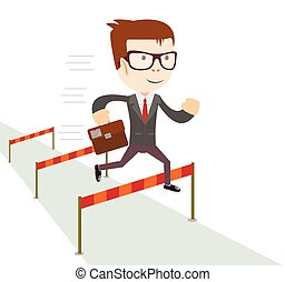 Businessman jumping over hurdles. - Cartoon character,...