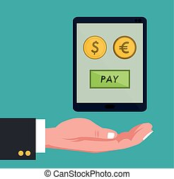 hand holds smartphone global payment euro dollar coins