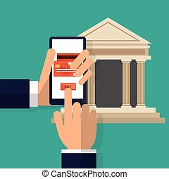 hand holds smartphone pay button bank online