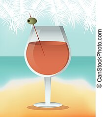 cocktail alcoholic olive green background vector...
