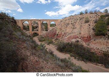 Bridge of five eyes in Aspe, Alicante, Spain,