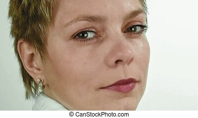 Short hair business woman looks and turns around - Portrait...