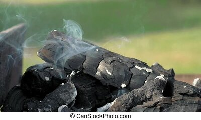 Hot smoking char coals in barbecue grill brazier - Hot...