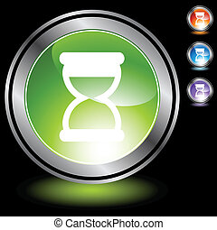 Hourglass web button isolated on a background.