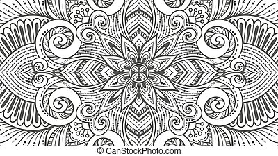 Asian ethnic floral retro doodle black and white background...
