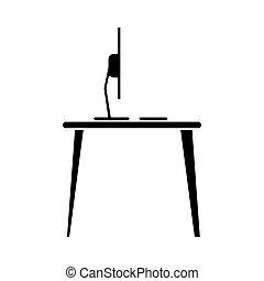 silhouette laptop desk workplace job graphic