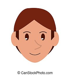 young face guy brown hair smile vector illustration eps 10