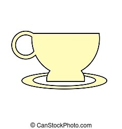 cup coffe plate break time office icon vector illustration...