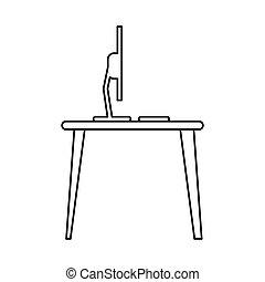 pictogram laptop desk workplace job graphic
