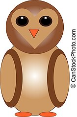 Owl on white background.