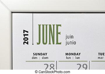 Close up calendar of June 2017 inside white frame