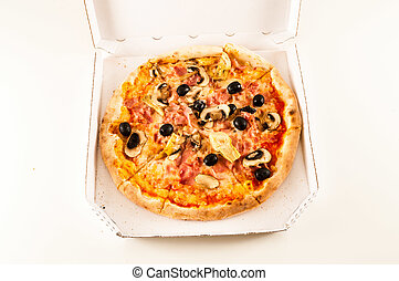 Pizza margherita isolated over white background - Close up...