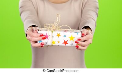 Bright and original gift. Gift wrap in the stars - Gift...