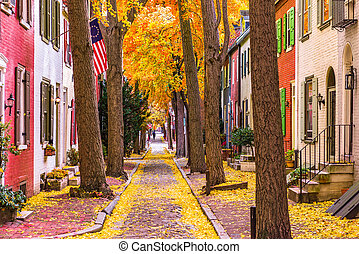 Fall in Philadelphia - Philadelphia, Pennsylvania, USA alley...