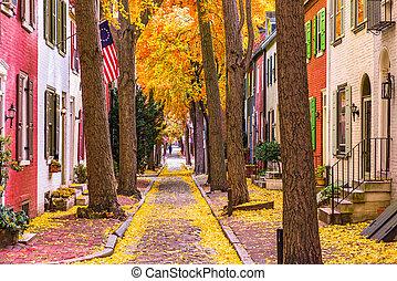 Fall in Philadelphia - Philadelphia, Pennsylvania, USA alley...