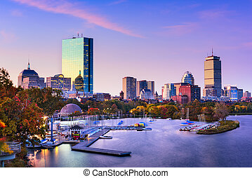 Boston Massachusetts Skyline - Boston, Massachusetts, USA...