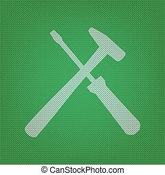 Tools sign illustration. white icon on the green knitwear or...