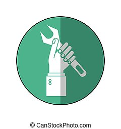 hand holding wrench support engine symbol-green circle shadow